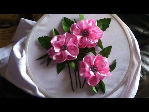 Satin ribbon embroidery design for long frocks. Ribbon embroidery stitches by hand tutorial.