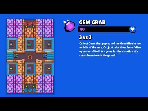 Qq Gem Grab Map Brawl Stars Gameplay Crazy Youtube