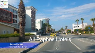 All Paphos Hotels Kato Paphos to Coral bay 4K