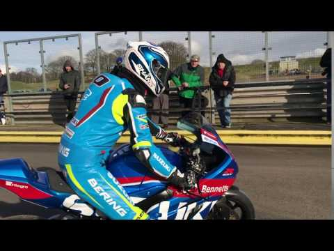 Sylvain Guintoli #50 tests the GSXR-1000 at Mallory Park Circuit