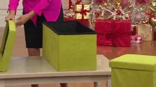 "Microsuede 30"" Folding Storage Bench By Fhe With Jane Denoble"