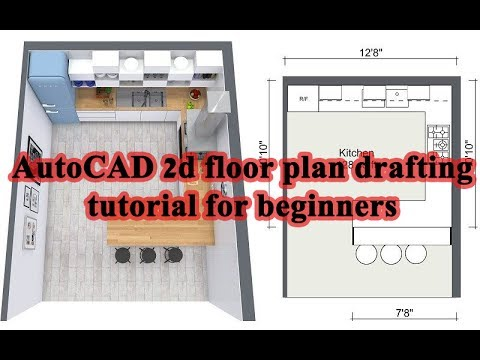 AutoCAD 2d floor plan drafting tutorial for beginners