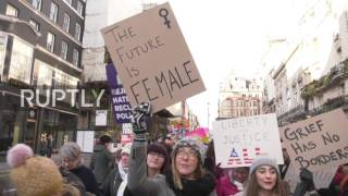 UK  'Pussy strikes back!' – 10,000s join anti Trump Women's March in London