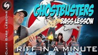 GHOSTBUSTERS - Bass lesson with TAB - Riff In A Minute