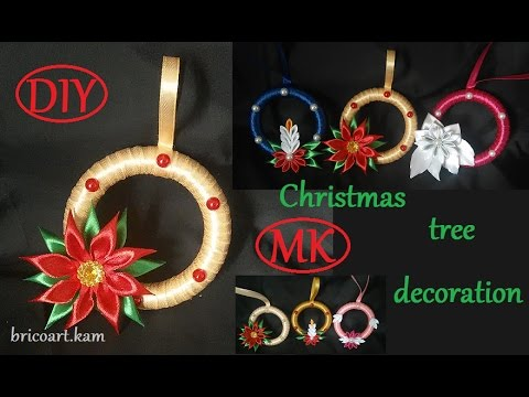 DIY/Christmas tree decoration tutorial/Kanzashi flower/MK/канзаши: bricoart.kam