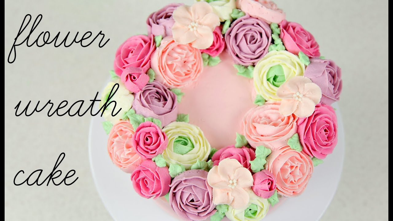 Cake trend buttercream flower wreath tutorial cake style youtube mightylinksfo