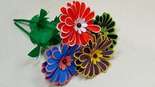 DIY Pretty Paper Stick Handcraft Flower!!Handcraft Table Decoration Flower|Jarine's Crafty Creation