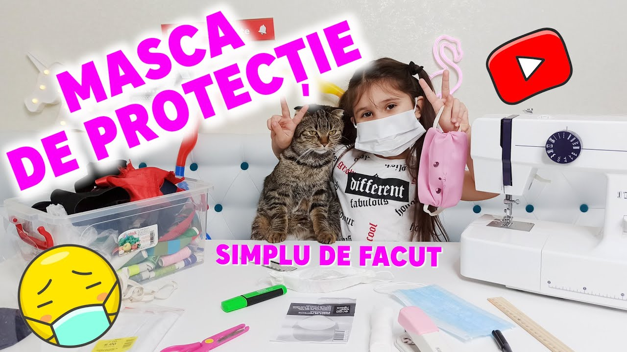 Cum se face o MASCĂ DE PROTECȚIE PENTRU COPII? Face mask for KIDS! DIY Face Mask. Masca de fata