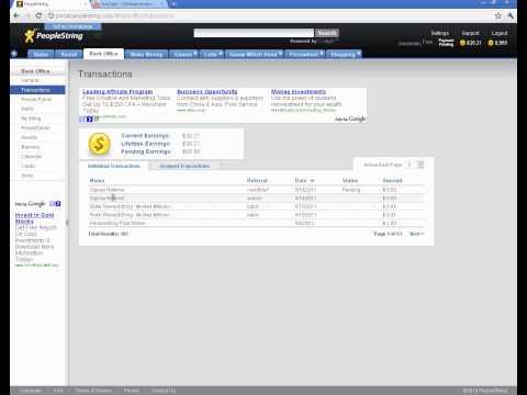 Деньги за приглашение рефералов(pending earnings) peoplestring.com