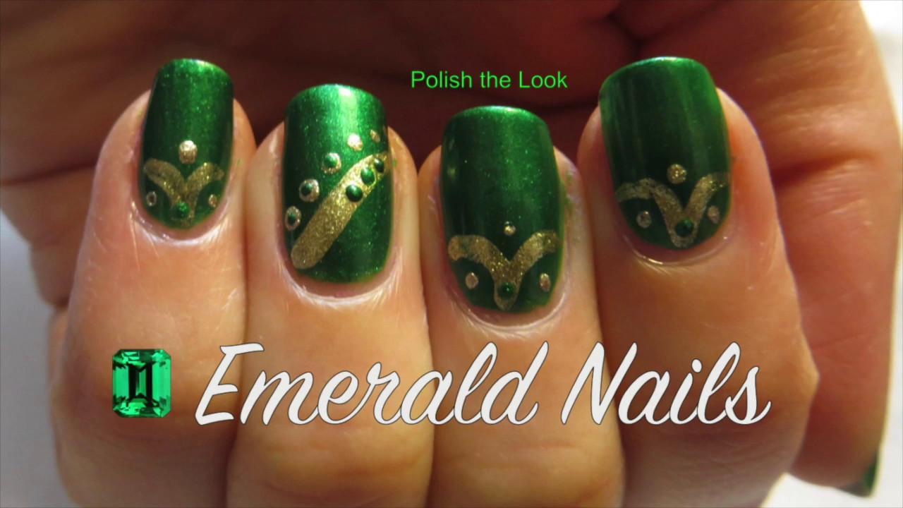 Easy May Emerald Nail Art Design Birthstone Series Nails Youtube