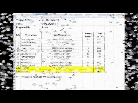 FLD Video Tutorial 1  Electrical Load Calculation  YouTube