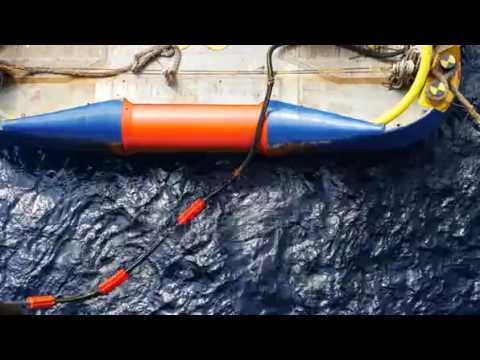 Flotation Collars At The Back Of Offshore Supply Vessel To Prevent Hose Falling Down If Parted Stock