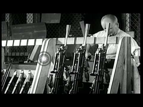 Guns, trucks and  submarines developed and tested in Canada, during World War II. HD Stock Footage