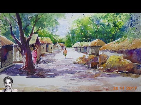 light and shadow in Watercolor Painting for Beginners | Landscape Painting step by step