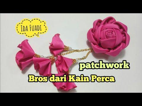 155) DIY-HANDMADE || Tutorial || Bros bunga mawar kain perca || How to make Fabric Rose || Patchwork