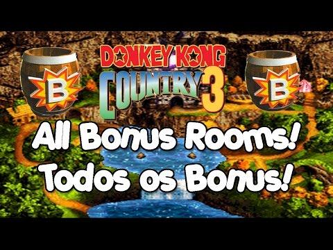 🎮 Donkey Kong Country 3 (Tutorial) - All Bonus Rooms Locations! Todas as Bonus Barrels