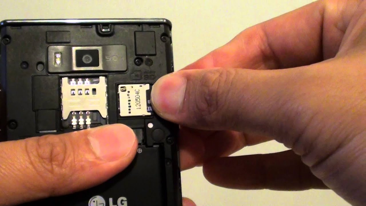 LG Optimus L7: How to Insert / Remove Micro SD Card - YouTube