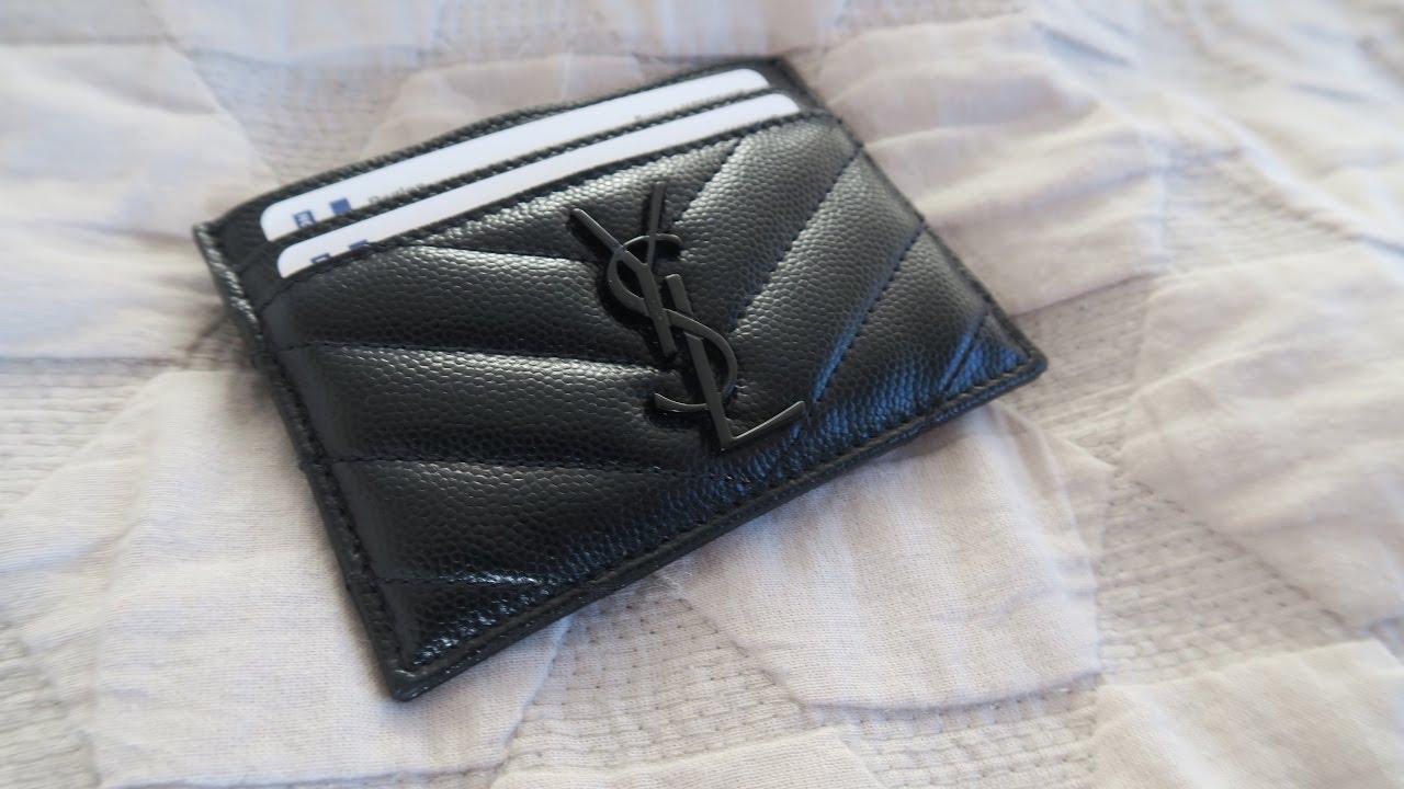 ysl monogram card holder black on black youtube