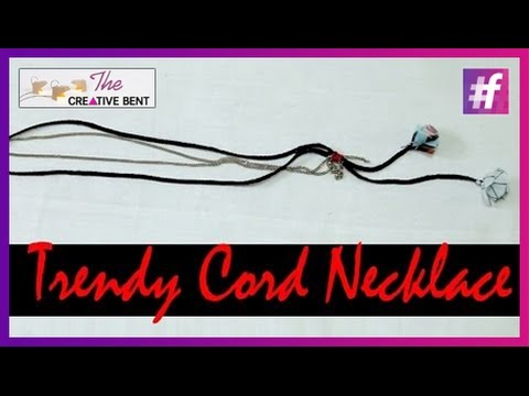 How to Make Your Own Long Necklace with Cord and Metal Chain | DIY with Swati