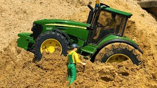BRUDER TRACTOR IN TROUBLE! Tractor MUD RIDE stuck in sand Action video for kids
