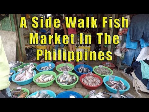 A Side Walk Fish Market, In The Philippines.