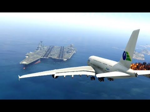 "Thrilling Emergency Landing at ""Super Aircraft Carrier"" by Airplane 'a380' (GTA 5 Funny Moments)"