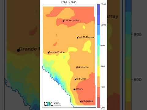 Mean Annual Precipitation in Alberta 1950 - 2090