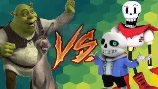 DJ Reagiert Auf SANS und PAPYRUS vs SHREK und ESEL! Cartoon-Fight Club-Folge 38