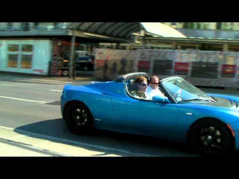 Brabus Tesla Roadster Sport 2.5 driving in Vienna