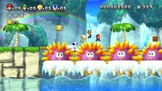 New Super Mario Bros. U - Sparkling Waters-4 - Non-stop synchronised Mario! (Wii U)