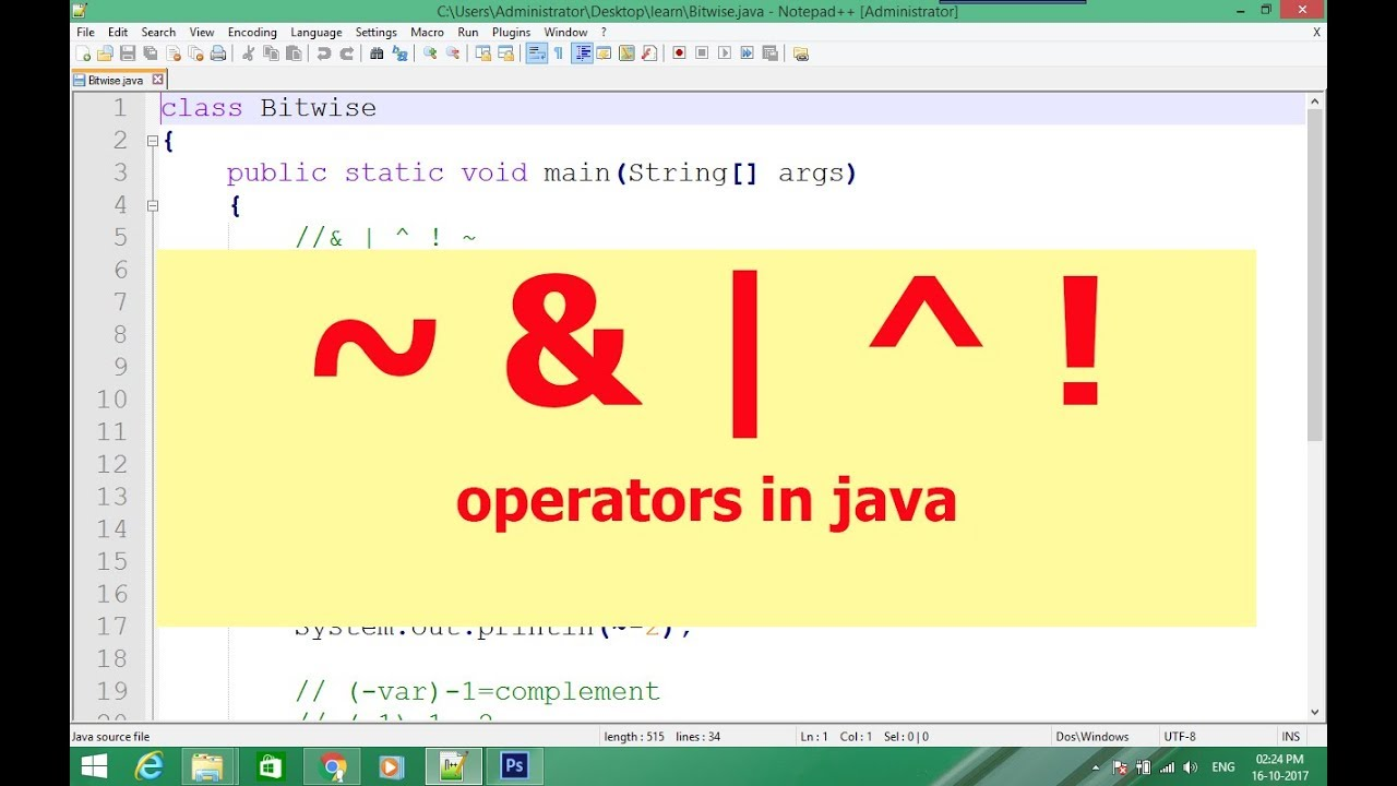 unary bitwise not and four other operators in java in hindi lecture#20