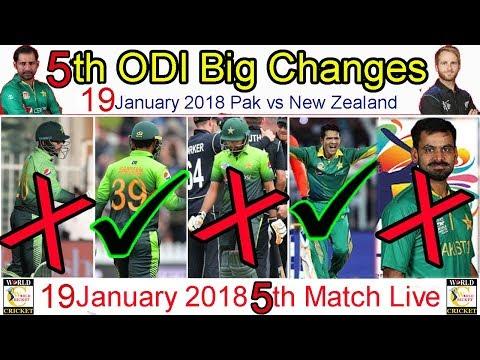 5th odi pakistan vs new zealand playing side, pak vs new zealand 18 january match 5