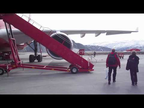 Air Greenland A330 in Kangerlussuaq, Greenland. External and short internal view, takeoff