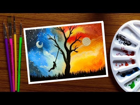 Repeat Easy Poster Colour Painting Day And Night For Beginners