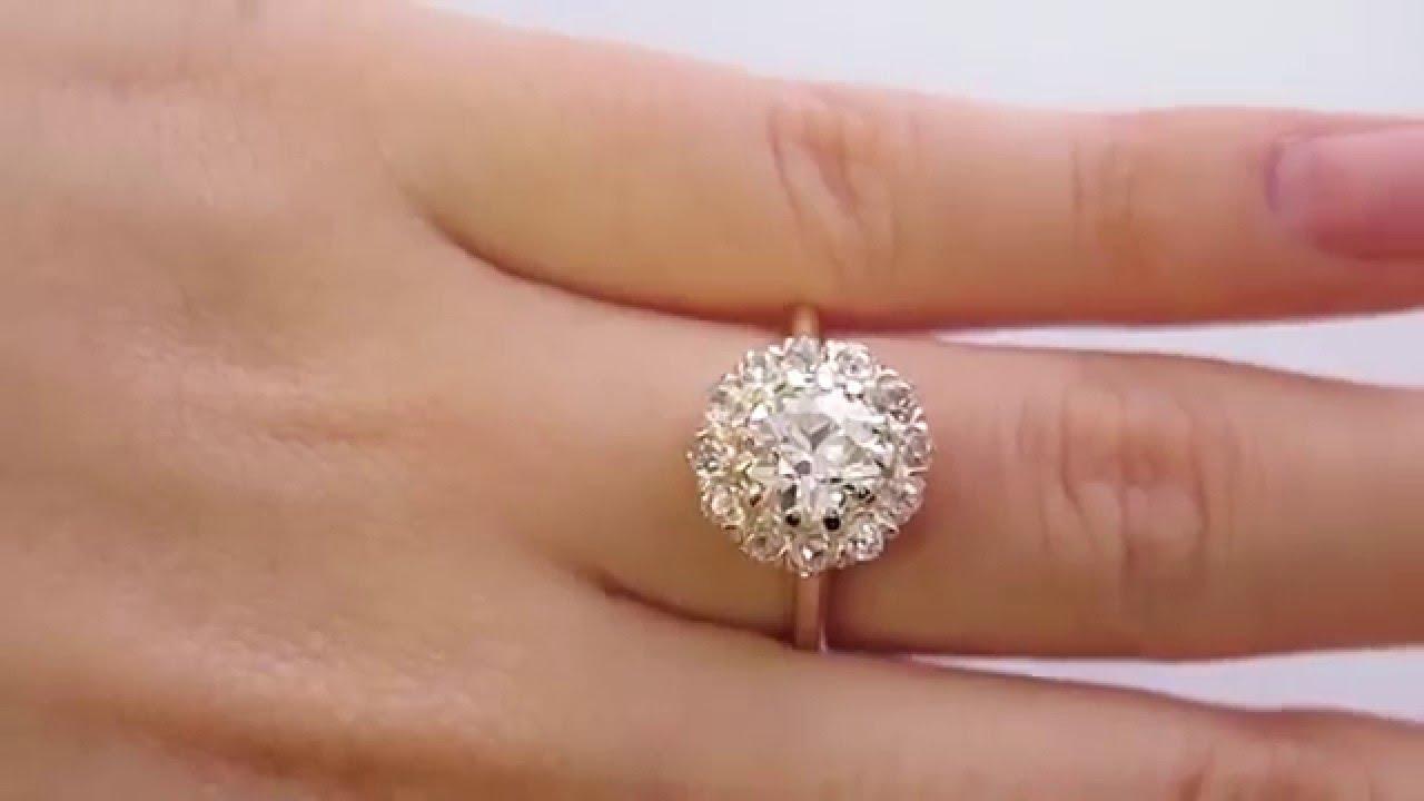 201ct Diamond Victorian Antique Vintage Cocktail Cluster Wedding Engagement  Rose Gold Ring