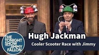 Cooler Scooter Race with Hugh Jackman