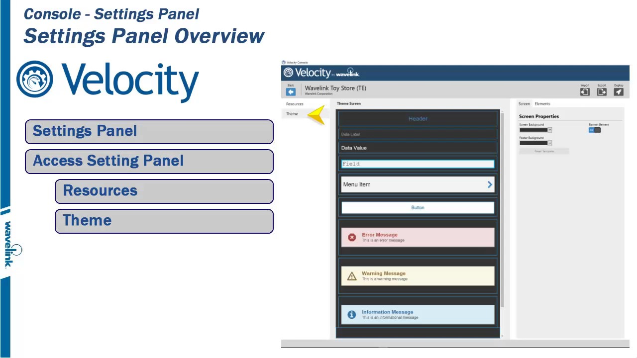 Wavelink Velocity Console - Settings Panel - 1/6 - Overview