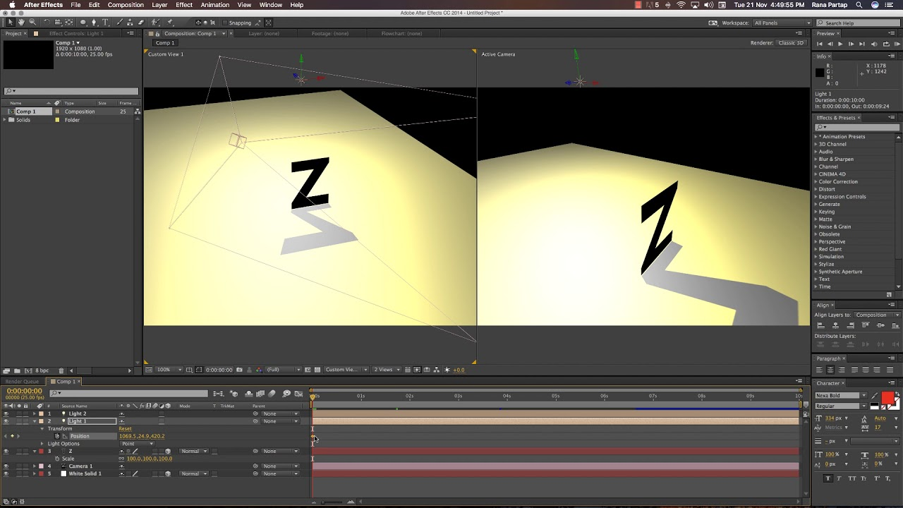 after effects animation how to make shadow effects tutorial