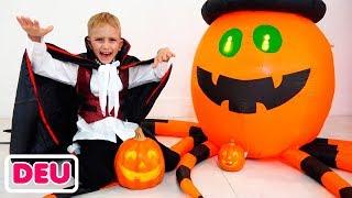 Vlad und Nikita feiern eine Halloween-Party