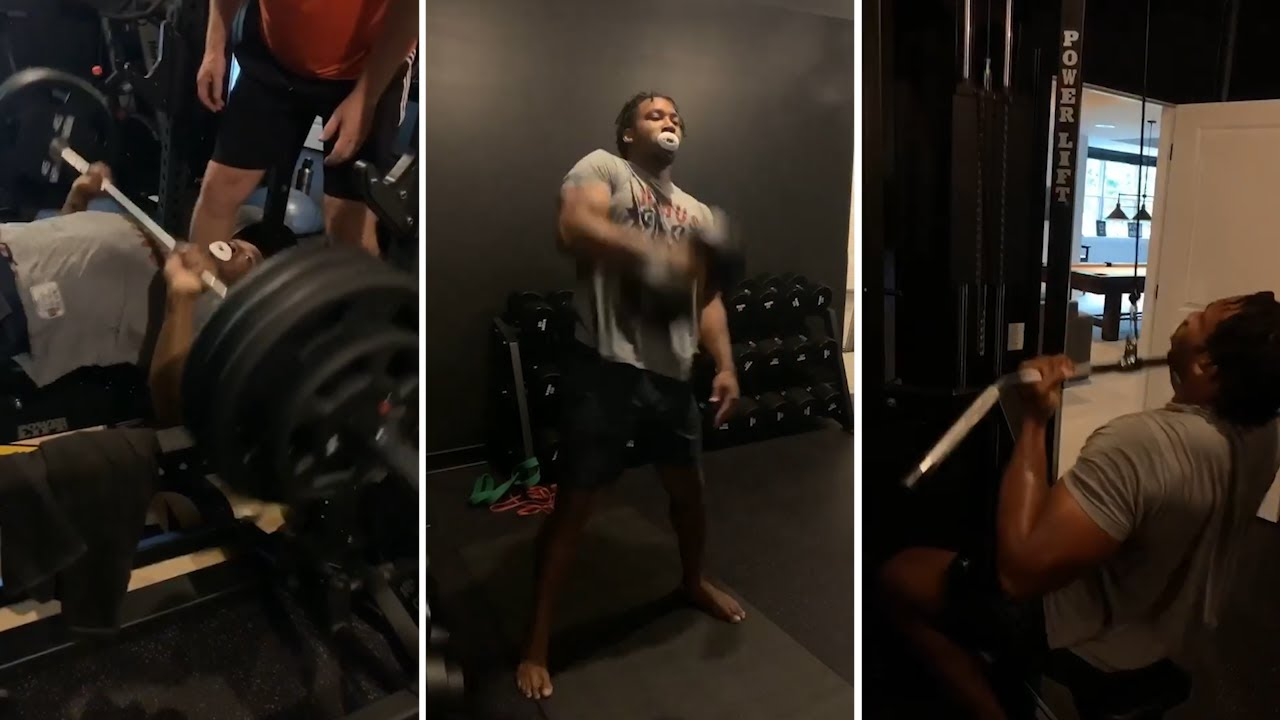 Myles Garrett Reps 365 pounds on bench press with ease finalizing deal 5 years $125 million