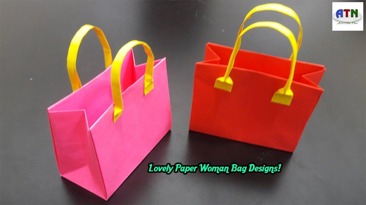 Origami Handmade Mini Paper Bags Diy Crafts Kids Bag