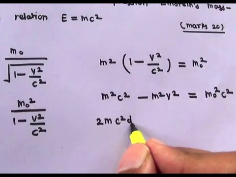 Derivation of Mass Energy Relation E = MC^2 , Einstein