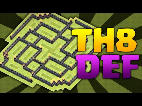 Clash Of Clans - TH8 DEFENSE!CRAZY PUSHING BASE!!!