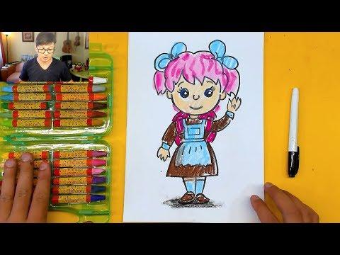 ДЕВОЧКА в ШКОЛУ - Рисунки на 1 сентября учимся рисовать с РыбаКит