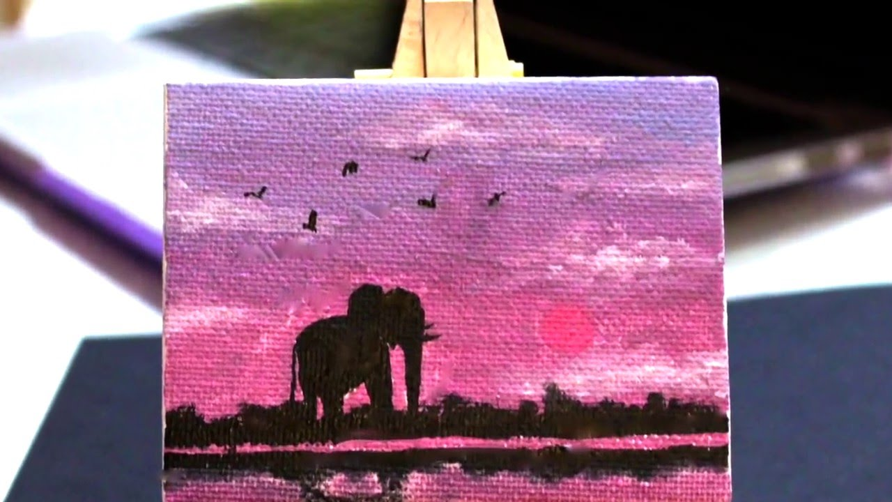 Mini Canvas Painting Simple Sunset Youtube