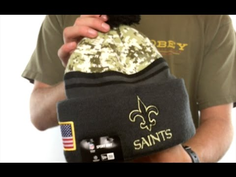 Saints  2016 SALUTE-TO-SERVICE  Knit Beanie Hat by New Era - YouTube 3f7392335