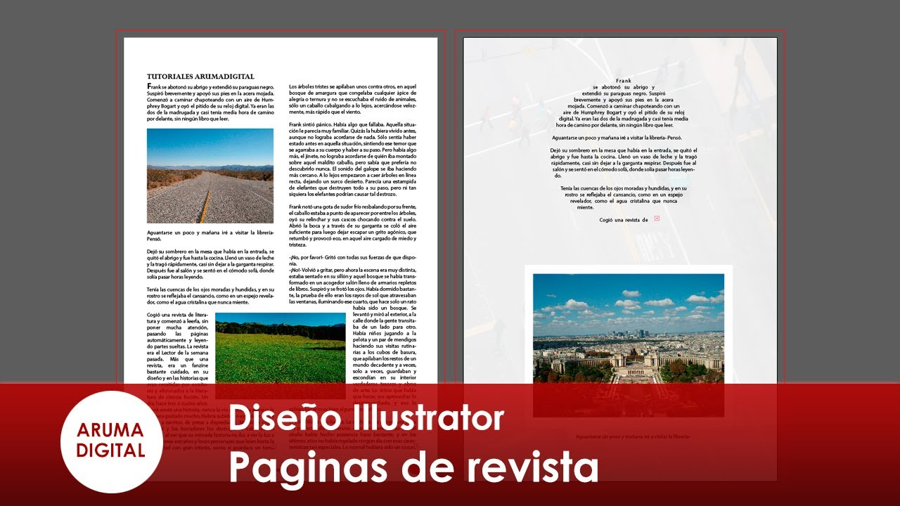 Illustrator 158 Paginas de revista y ceñir texto - YouTube