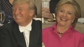 New York: Hier feuern Clinton & Trump über einander ein Witzfeuerwerk ab und lachen herzlich