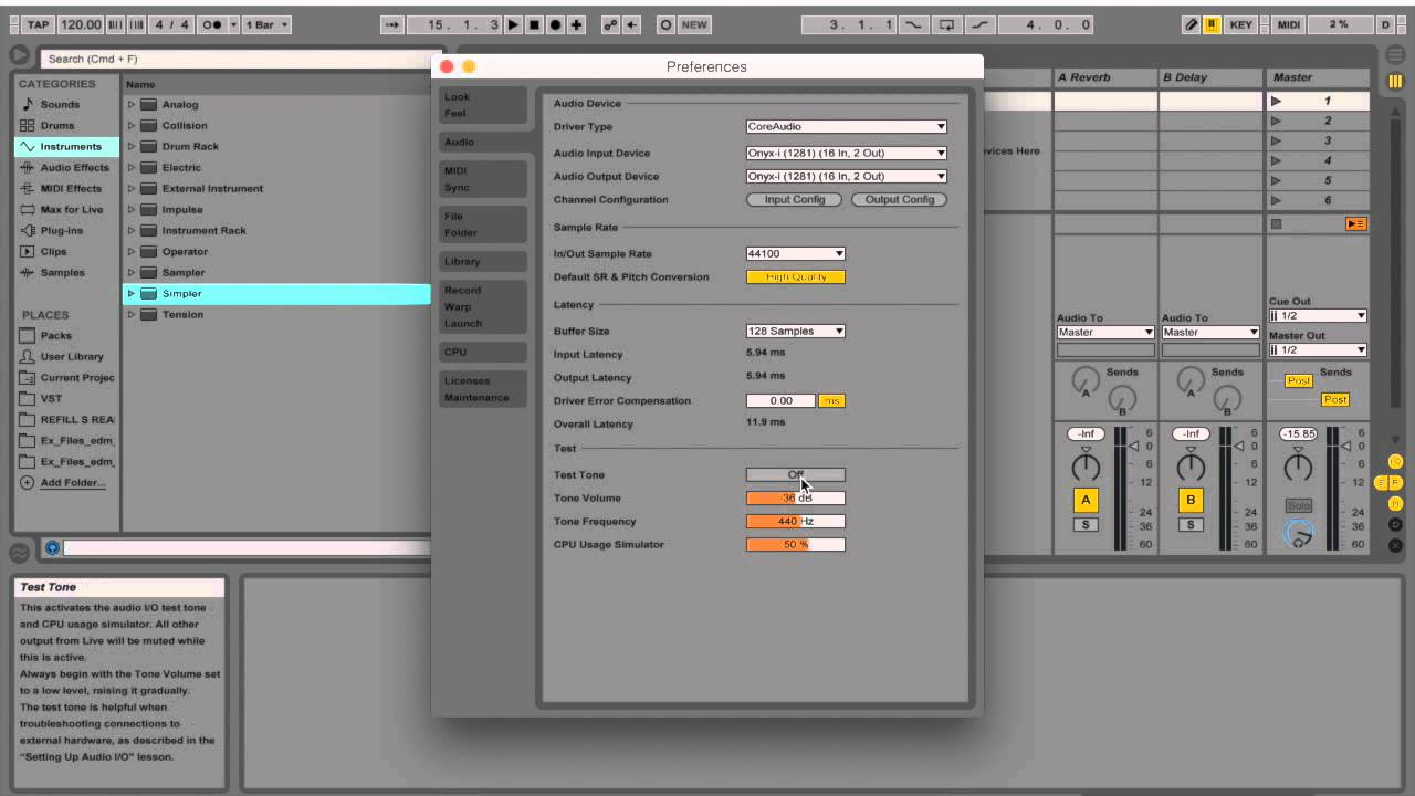 Latency, Buffer Size, Optimizing Ableton Live 9