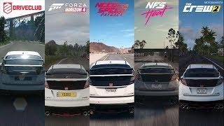 DriveClub vs FH4 vs NFS Payback vs NFS Heat vs The Crew 2 - Honda Civic Type-R Sound Comparison